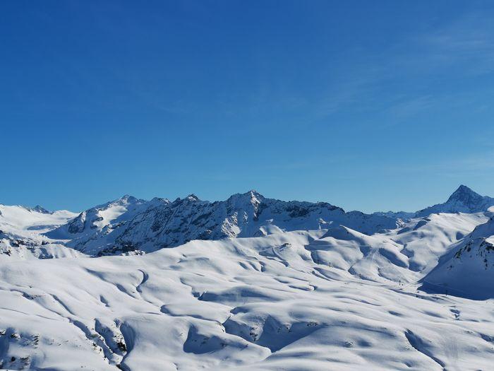 Mountain Snow Cold Temperature Clear Sky Winter Snowcapped Mountain Blue Sky Landscape Mountain Range