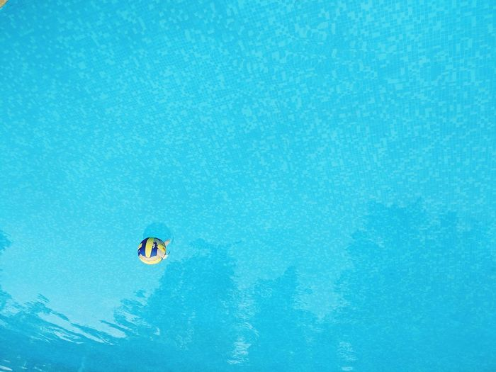 Upside down image of soccer ball in swimming pool