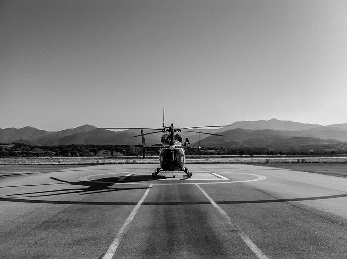 Air Vehicle Airfield Airport Airport Runway Black And White Check This Out Chopper Clear Sky Day EyeEmNewHere Helicopter Mountain Mountain Range Nature No People Outdoors Parking Sky TakeOff Transportation