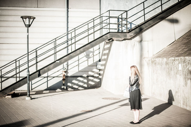 Architecture Built Structure Day Diagonal Diagonal Lines Latvia Light And Shadow Modern One Person People Real People Riga Shadow Shape Standing Women Young Adult Young Women