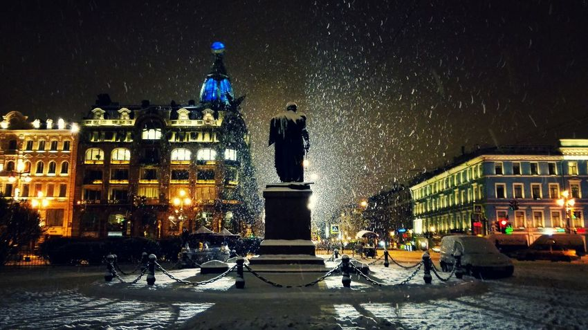My Year My View Night Illuminated Snow Winter Travel Destinations City Snowing No People Outdoors St Petersburg Russia Nightphotography Huawei Statue Architecture