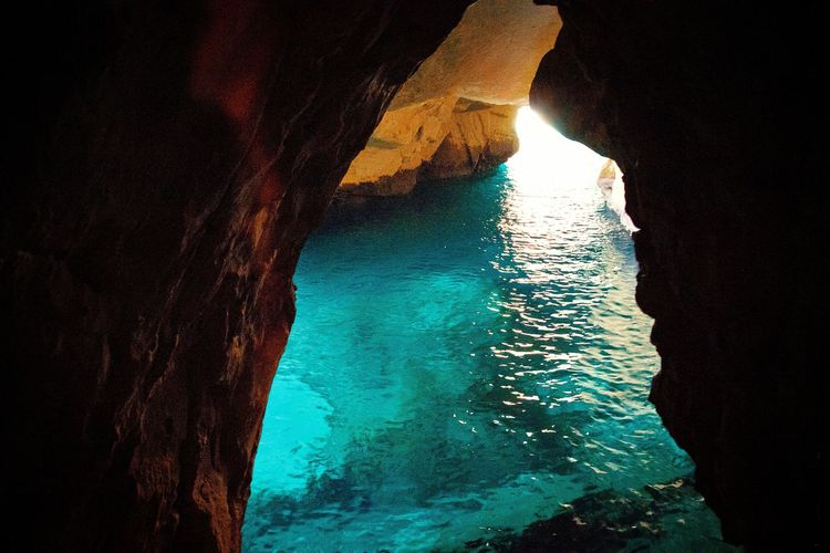 Reflections Stones & Water Stones Rock Travel Illuminated Nature Waves Israel Bluewater Sea Water Cave UnderSea