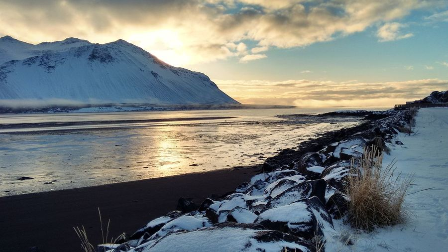 Iceland #1 Iceland EyeEm Selects Water Mountain Snow Cold Temperature Sunset Winter Lake Frozen Water Horizon Environment Natural Landmark Rocky Mountains EyeEmNewHere Go Higher Visual Creativity #FREIHEITBERLIN The Great Outdoors - 2018 EyeEm Awards The Traveler - 2018 EyeEm Awards