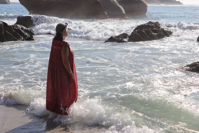 Cape Town Clifton Beach Dress Red South Africa Beauty In Nature Day Full Length Leisure Activity Lifestyles Nature One Person Outdoors People Real People Red Rock - Object Sea Standing Water Waterfall Wave Women Young Adult Young Women