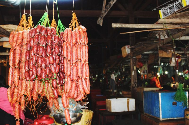 Hanging susages. Siem Reap Siem Reap, Cambodia Cambodia Meat Sausage Sausages! Local Market Food Worldwide Food