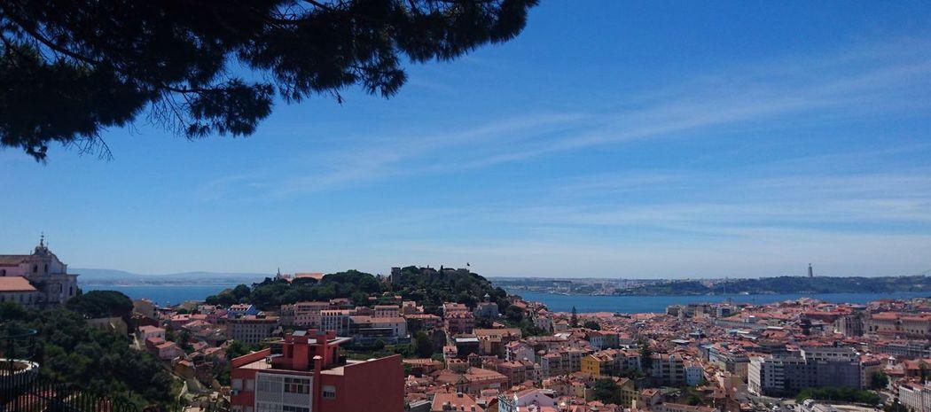 Portugal Lissabon Lisboa City Miradouro Sun Blue Sky Ocean Hill View From Above Miradouro Da Nossa Senora Da Monte
