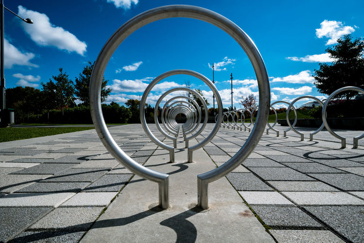 Looking into the future Ontario Ottawa Perspective Architecture Bike Canada Circle Day Design Direction Freelancer Photographer Geometric Shape Metal No People Outdoors Park - Man Made Space Progression  Shadow Shape Sky
