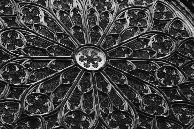 Close-up of rose window