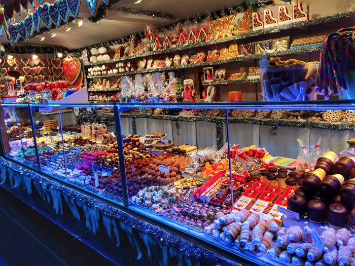 Christmas Sweets Food Sweet Food Retail  Store Variation Choice Choices No People Outdoors Colorful Colours Lights Night Holidays EyeEm Gallery