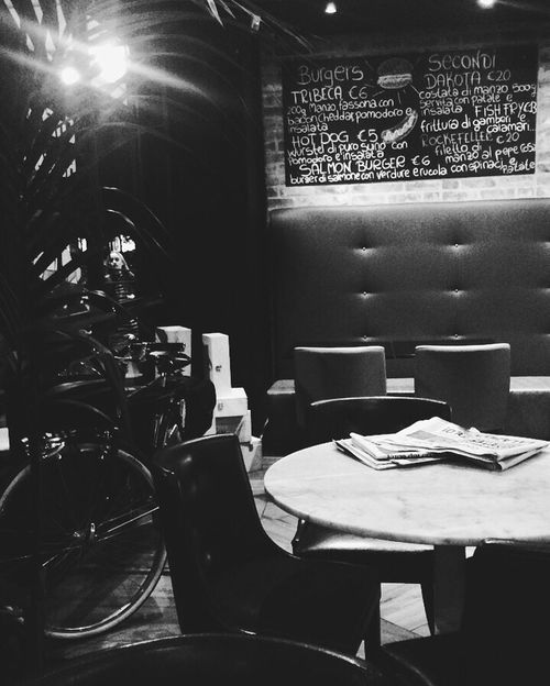 Black&white Black And White Photography Indoors  Chair No People Seat Text Day Lovelyplace Restourant  Eat Healthy Rome Italy