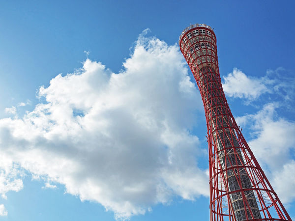 Kobe Port Tower and beautiful blue sky (神戸ポートタワーと綺麗な青空) Ad Beautiful Blue Color Copy Space Red Tourist Spot Attractions Black Color Cloud - Sky Kobe Kobe Port Kobe Port Tower Landscape Margin Nature No People No Person Nobody Outdoors Sky Tall - High Text Space Tourism Tower White