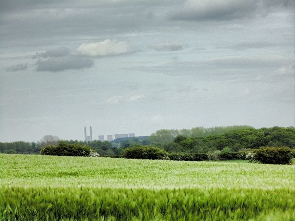 Landscape Green Nature Fields Power Station Cloudy