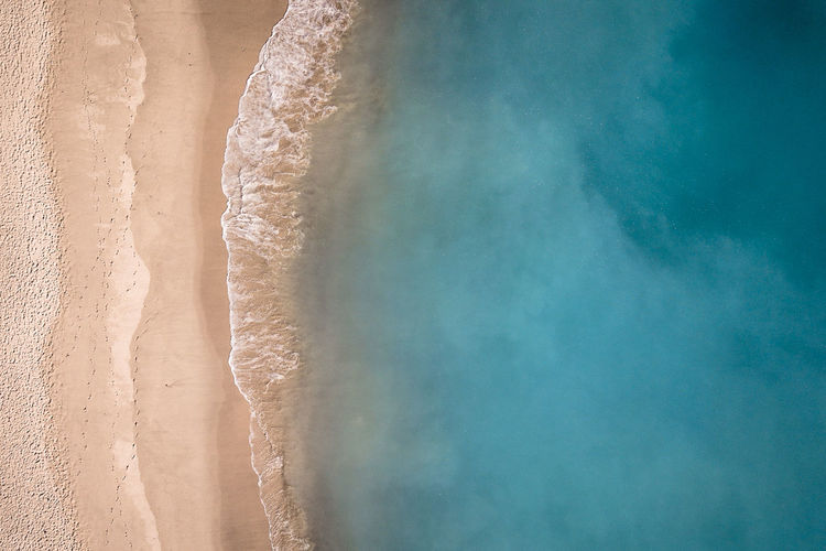 Beach Aerial View Texture Sand Sea Water Blue Turquoise Travel Scenics Destination Tourism Outdoors Nature Landscape Environment Day Land Europe Arrabida Coastline Layers Wave Tranquility Ocean