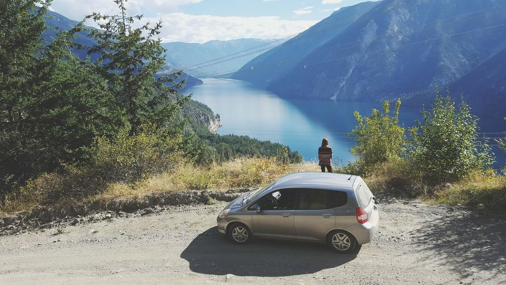Car Tree Transportation Mode Of Transport Mountain People Beauty In Nature Adult Adults Only Landscape Canada Nature Travel Scenic Colourful Rural Scene Woman Looking Out Snowcapped Mountain Lake Viewpoint Roadtrip Roadside Highland Road Andersonlake