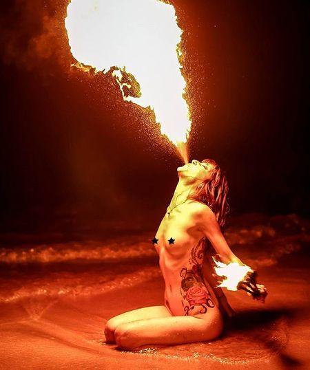 Dragona Beautiful Maui Hawaii Mauiphotography Mauinokaoi Burningman Burn Freethegoddess Befree Youonlyliveonce Fire Firebreathing Firebreather  Fireporn Pyro Pyrohearted Flowarts Flow  Beach Dragon Dragona Vixen Rawr