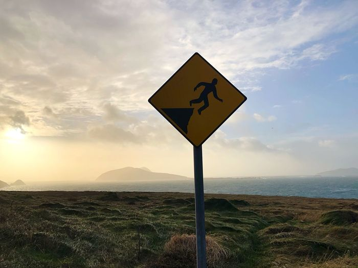 Dunquin Ireland🍀 Sky Sign Cloud - Sky Tranquility Tranquil Scene Scenics - Nature Communication Road Nature Landscape Beauty In Nature No People Mountain Road Sign Environment Warning Sign Guidance Water Land Day