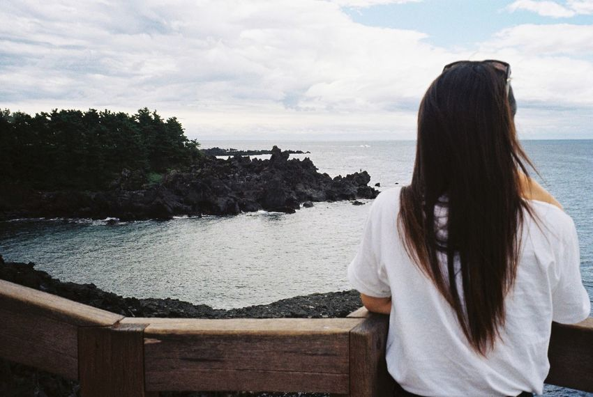 Korea Jeju Island, Korea JEJU ISLAND  Film Filmcamera Film Photography Beauty In Nature Photography Memories Travel Summer Happy Clear Sky Drive Selfie Selfie✌ Young Women One Person Alone Beachphotography Standing Morning Day 😚