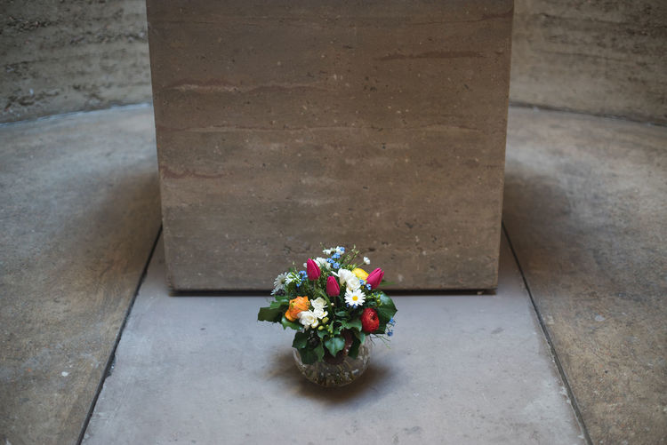 High angle view of flowers by altar in chapel