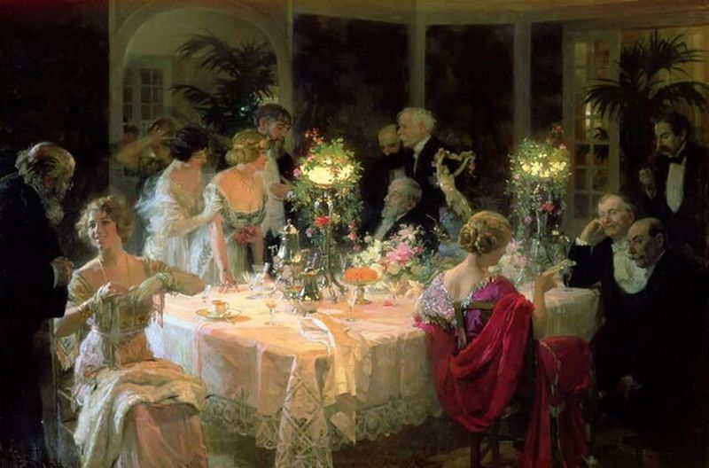Large Group Of People Celebration Cultures Adult Tradition People Adults Only Art ArtWork Art, Drawing, Creativity 2017 Museum Jules-Alexandre Grun 1913 The end of dinner
