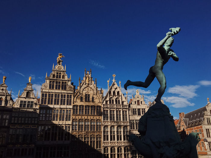 Market Square in Antwerp Antwerp Antwerpen Belgique Belgium Sightseeing Tourist Attraction  Traveling Architecture Arms Raised Art And Craft Building Exterior Built Structure City Famous Place History Human Representation No People Outdoors Representation Sculpture Statue Tourism Travel Travel Destinations