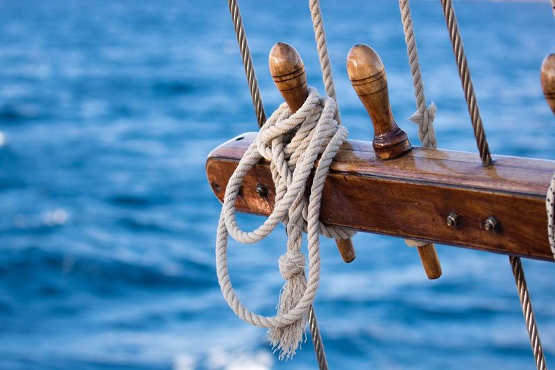 Close-up of rope tied on boat