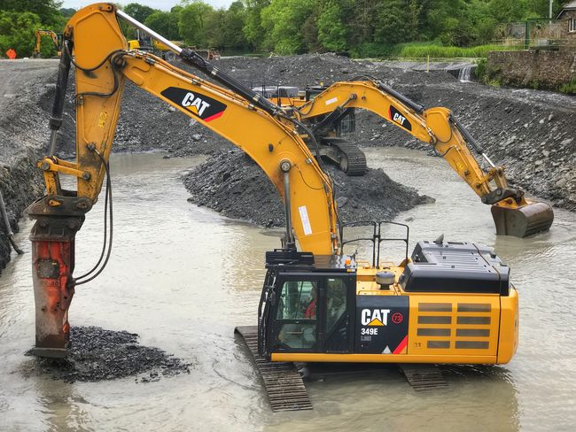 Flood Relief Construction Machinery Earth Mover Transportation Machinery Industry Construction Site Water Land Vehicle No People Day Outdoors Bandon County Cork Ireland