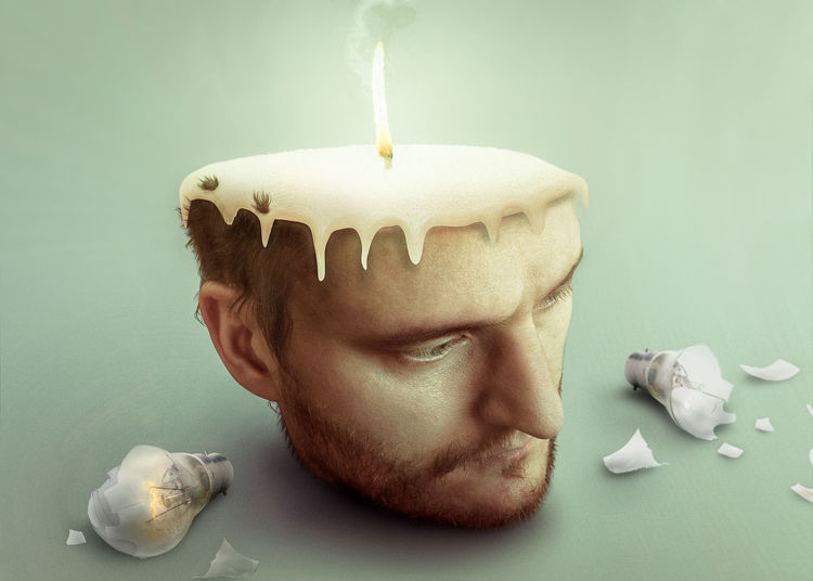 Stressed sad man burning candle in his head with broken light bulbs Stress Stressed Out... Work Working Hard Beard Body Part Burning Candle Close-up Facial Hair Fire Headshot Health Human Body Part Human Face Idea Ideas Illness Indoors  Mental Mental Illness One Person Portrait Stressed