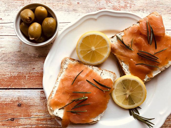 Smoked salmon,