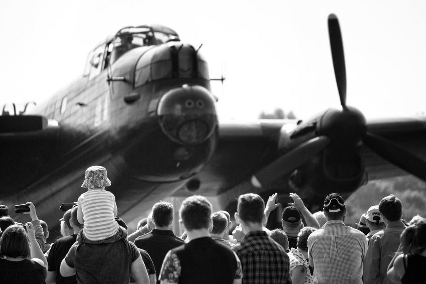 Lancaster Bomber Plane Crowds People No Faces Airshow Blackandwhite Depth Of Field Aeroplane Large Group Of People Rear View Day Outdoors Real People Just Jane Black And White Friday