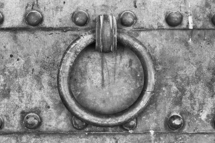Knock knock Black And White Close-up Dog Entrance Fortress Knob Mammal Metal No People Outdoors Rivets Texture