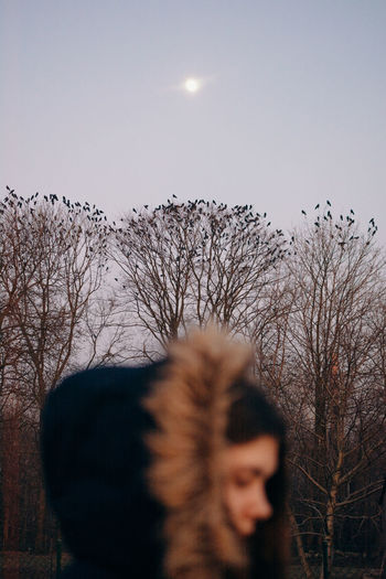 dark Sky Tree Bare Tree Nature Real People One Person Outdoors Hood - Clothing Warm Clothing Girl Sunset Birds Crows Crow