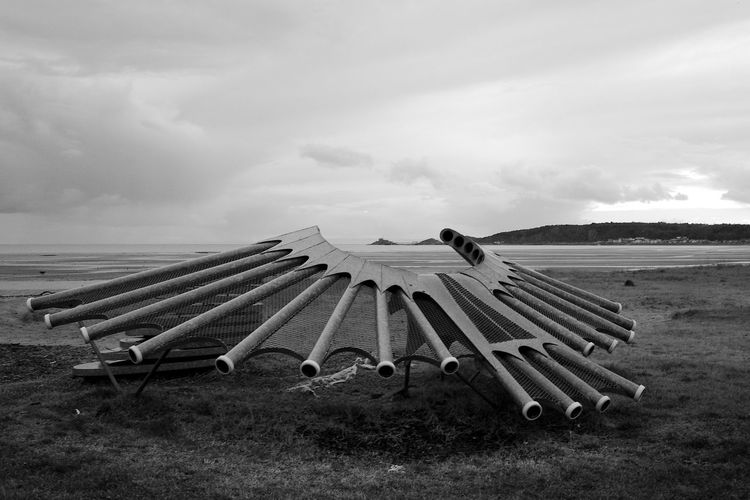 Fossilised Bagpipes ArtWork Abertawe Blackandwhite Cloud - Sky Day Land Landscape Pipes Seafront Sky