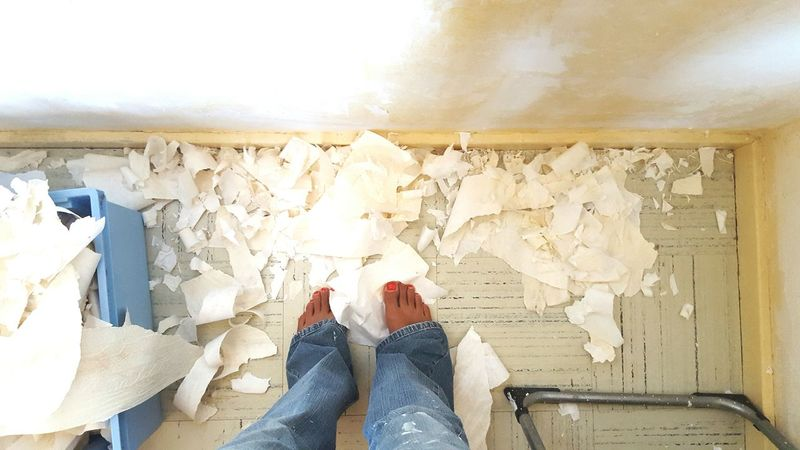 Workinprogress Renovation Feet On The Ground Strip Wallpaper Wall Decoration Home Is Where The Art Is Woman Who Inspire You Woman Power Interior Style A Bird's Eye View Two Is Better Than One People And Places