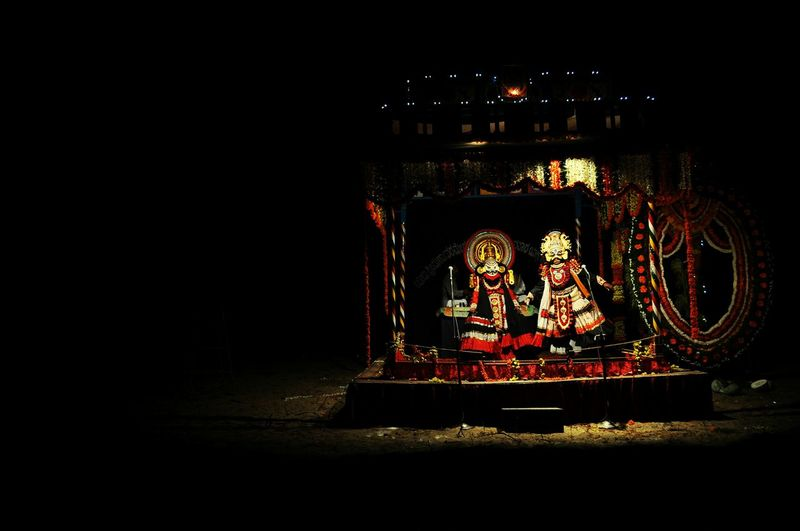 Human Representation Art Dark Window Frame India Indian Art Form Yakshagana Night Lights Night Photography Night Shot Non-urban Scene