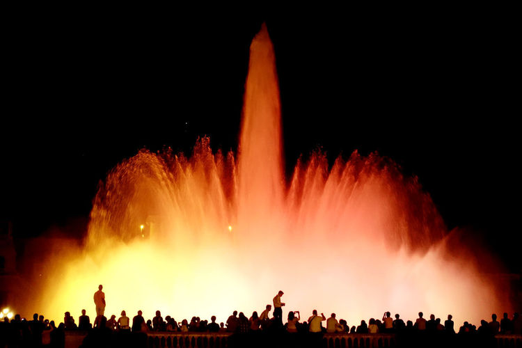 """""""fountain show_1"""" Travel Trip Journey SPAIN Barcelona Montjuic Fountain Show Light Catalunya Crowd Audience Fan - Enthusiast Nightlife Excitement Red"""