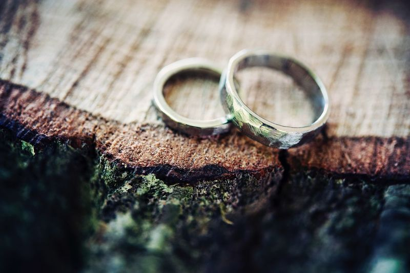 High angle view of wedding rings on tree stump