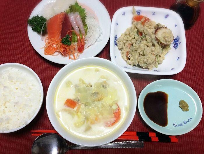 お疲れ様でした☆ Clamchowder Okara Sashimi  Japanese Food Food Porn Yummy