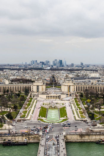 Palais de chaillot and jardins du trocadero against cloudy sky seen from eiffel tower