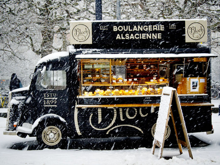 Bakery Boulanger Close-up Cold Temperature Communication Cute Day Land Vehicle Nature No People Outdoors Snow Snowing Streetphotography Text Transportation Vintage Winter