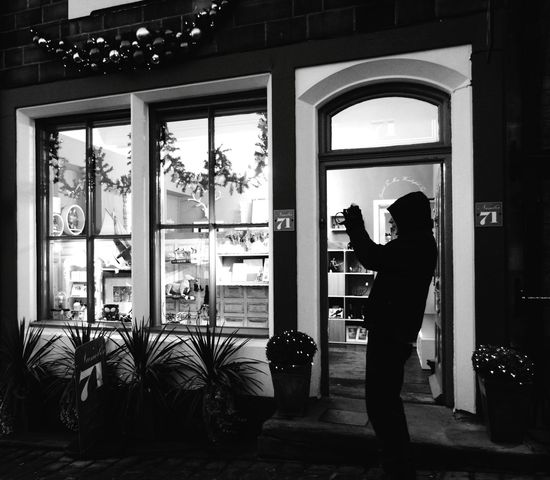 Christmas Decoration Adult Architecture Outdoors Winter Architectureporn Yorkshire Haworth Windows Exterior Christmas Around The World Christmas Decorations Shopping Time Giftshop Christmas Town Shop Tourist Attraction  Bronte Country Bronte Building Exterior Architecture Window Black & White Black And White