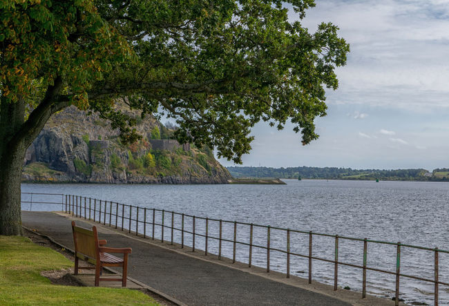 Relaxing spot Tree Water Lake Tranquility Outdoors Nature Day No People Tranquil Scene Scenics Sky Beauty In Nature Bench Seat Park Dumbarton Dumbarton Rock River Clyde Path Pathway Railing