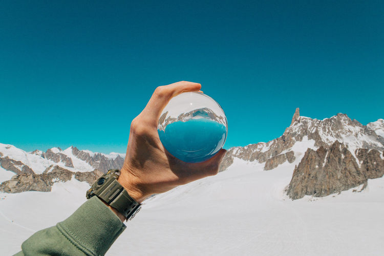 Monte Bianco in my hand! Crystal Ball Dolomites, Italy Mountain View Reflection Glass Reflection Italy Monte Bianco Snowcapped Mountain