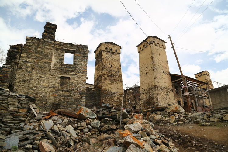 Architecture History Sky Built Structure The Past Cloud - Sky Old Ruin Ancient No People Day Damaged Building Exterior Nature Abandoned Obsolete Outdoors Old Building Ruined Run-down Demolished Ancient Civilization Deterioration Archaeology Georgia Mestia/town In Svaneti/Georgia