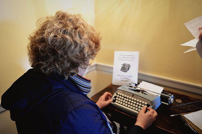 Nationaltrust Typewriter Taking Photos Curlyhair Curls Hello World Captured Moment