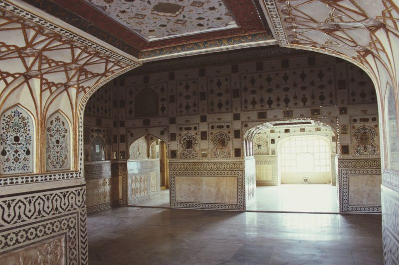 Interior detail at Amer Fort Architecture Built Structure Arch Indoors  Building Ornate Art And Craft The Past Pattern Travel Destinations
