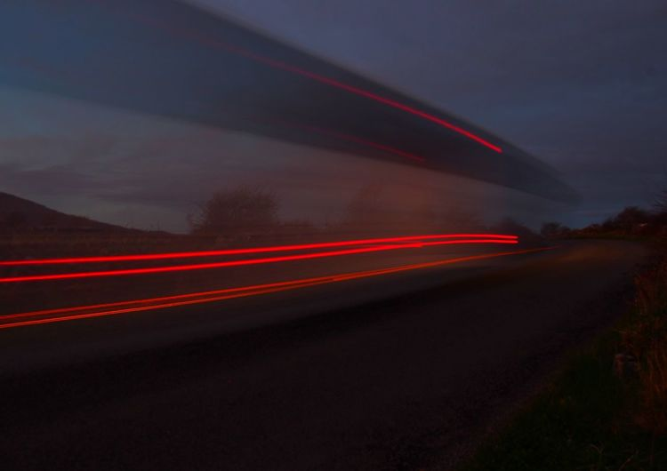 neeeeeeowwwwm Light Trails Blurred Motion Long Exposure Motion Light Trail Speed Bus Tour Bus Night Red Road Driving Illuminated Outdoors Country Road Ireland The Drive Transportation Travel Coach Tour F'n Neowmm