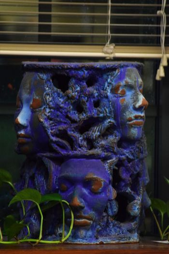 holding up the blinds !!!!! Art Is Everywhere Faces In Places Creativity In The Window Purple Color Sculpture Statue