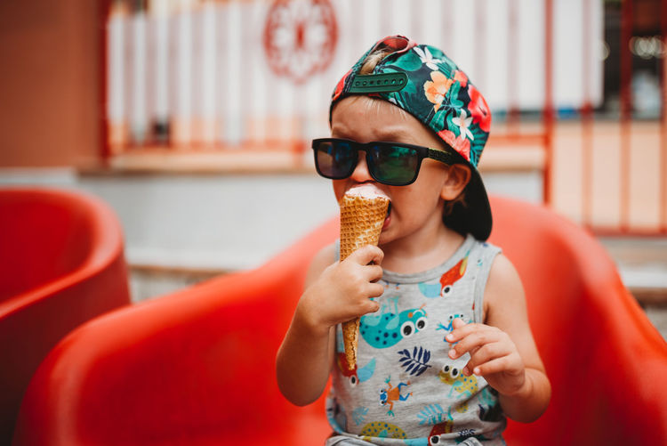 Woman holding ice cream cone