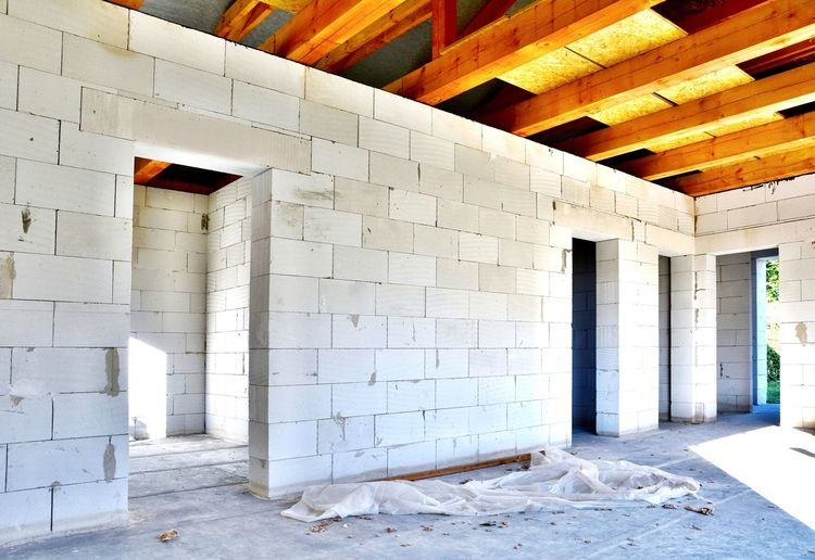 New House Construction Interior. Architecture Built Structure No People Indoors  Light House Construction Inferior House Construction White New Built Built_Structure Day Inside Blocks Concrete Aerated Blocks Aerated Building Urban Dirt