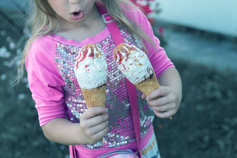 Child Childhood Cone Dairy Product Day Focus On Foreground Front View Frozen Frozen Food Girls Hairstyle Holding Ice Cream Ice Cream Cone Innocence One Person Outdoors Pink Color Real People Sweet Sweet Food Temptation Women Summer Exploratorium EyeEmNewHere